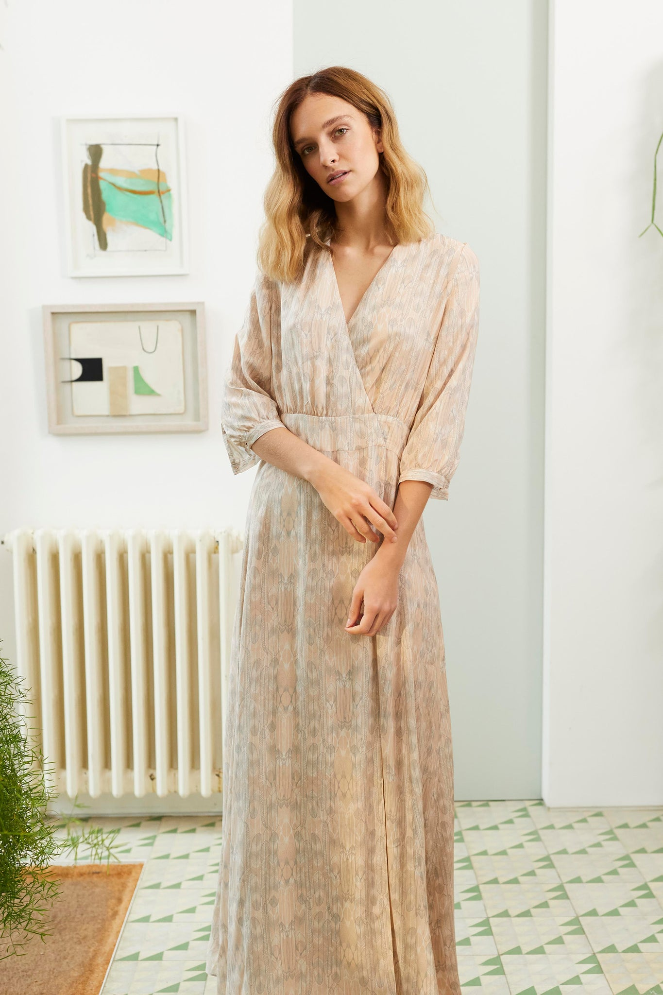 Bohemian Tea dress in Balinese Feather in Sand Blush