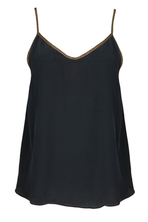 Rhodes silk camisole in black