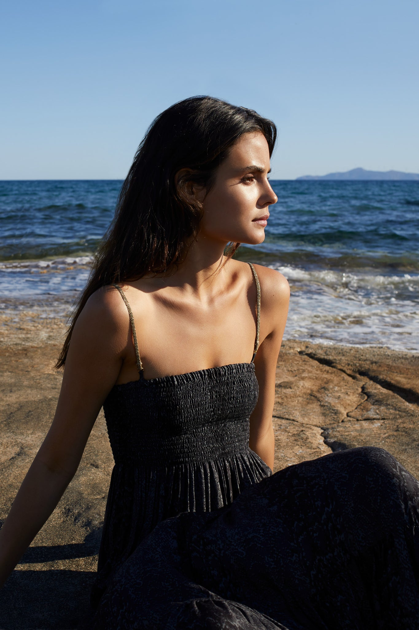 Gaia Beach Bandeau dress in Black