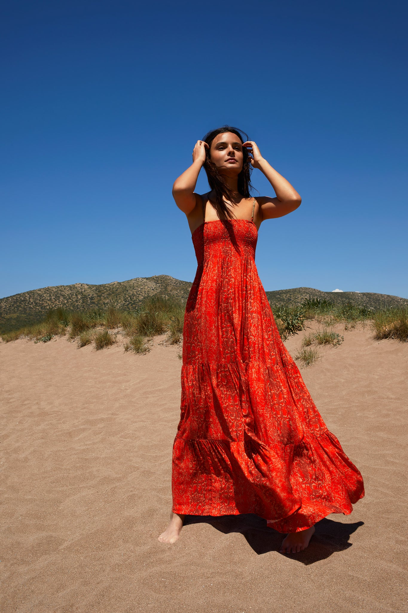 Beach dress in Fire Red