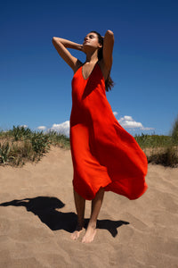 Halter dress in Block Silk in Fire Red