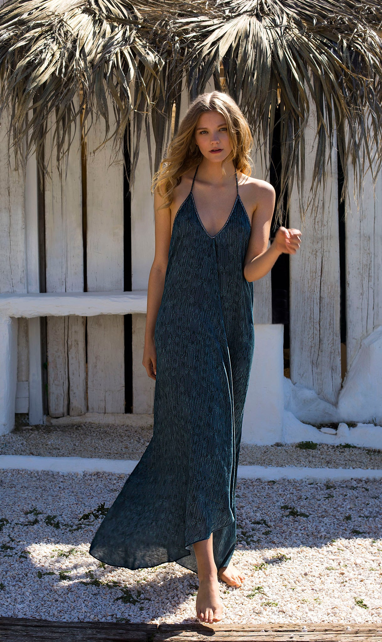 Halter dress in Balinese Feather print