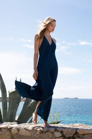 Halter dress in Block Silk in Midnight