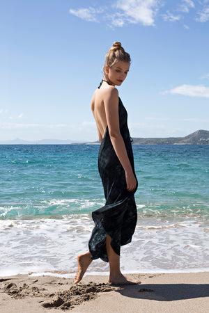 Halter dress in Silk Tie Dye print in Black