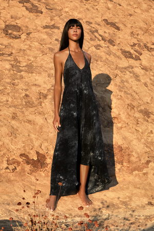 Rhodes Halter dress in tie dye silk in black/Charcoal tie dye