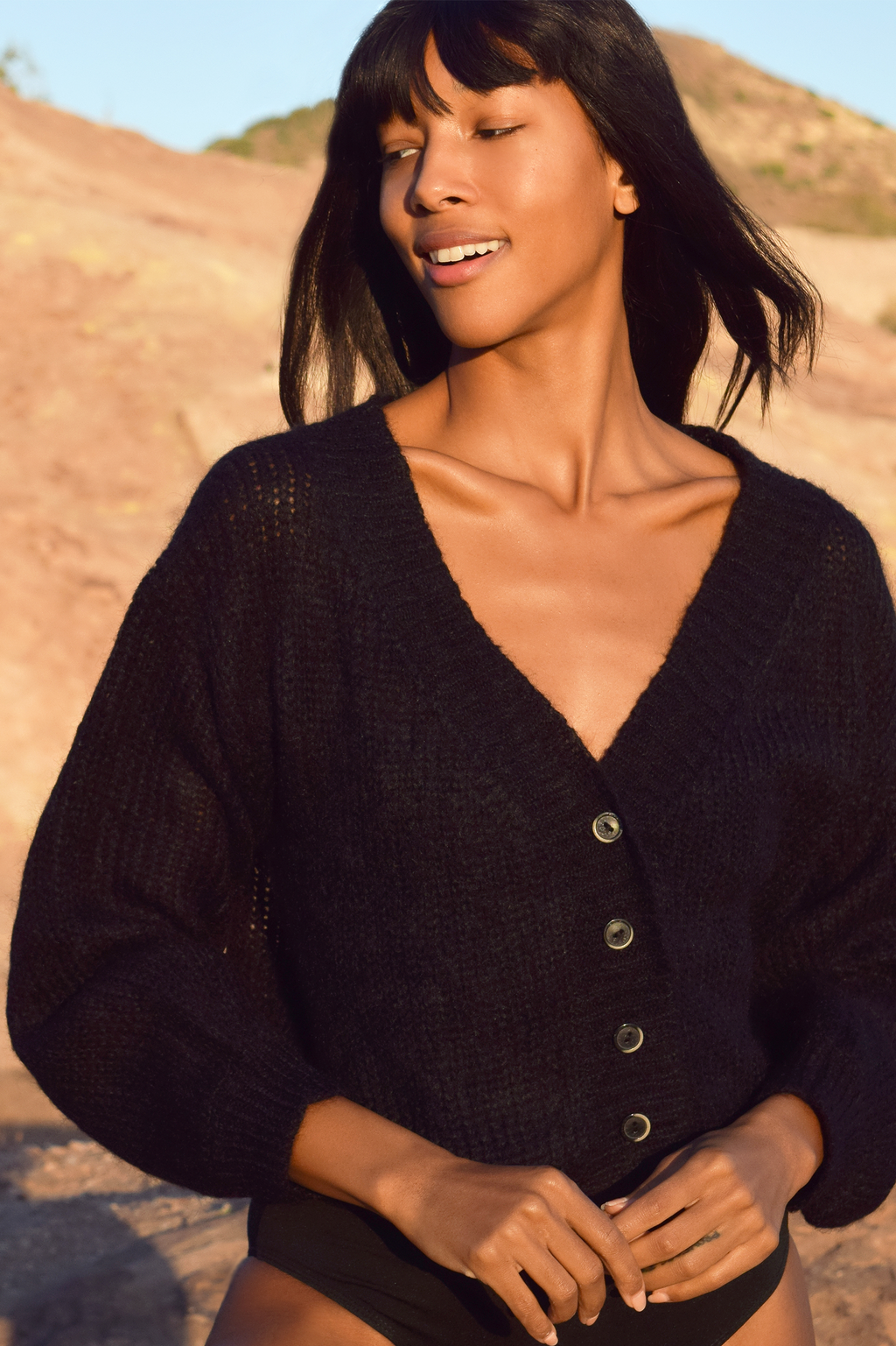 Cropped Mohair Cardigan in Black