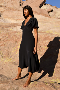 Iris Midi Tea dress in black silk
