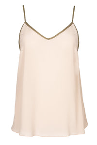 Rhodes silk camisole in sand blush