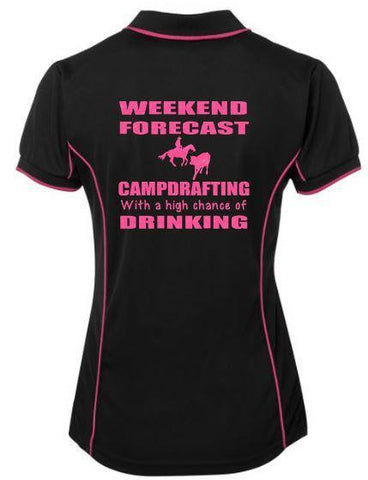Weekend Forecast Campdrafting Drinking Polo Shirt