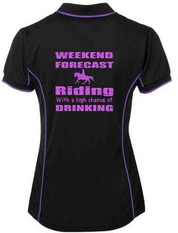 Weekend forecast riding drinking polo shirt
