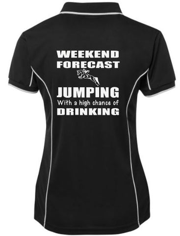 Weekend forecast, jumping & drinking polo shirt