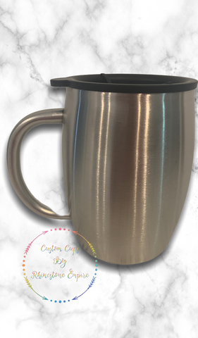 PRESALE - Coffee Tumbler- 14 Oz Stainless Steel, Double Walled, With Black Plastic Lid
