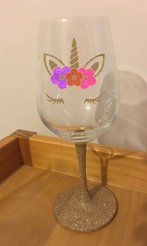 Unicorn glitter stem wine glass