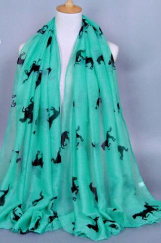 Mint-Green-Horse-Design-Print-Scarf