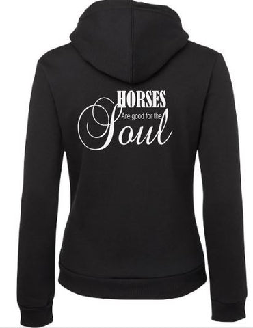 Horses are good for the soul zip front hoodie
