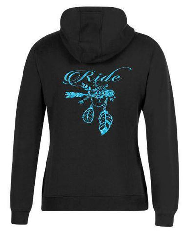 Ride flowers and feathers Hoodie - Rhinestone Empire Equine