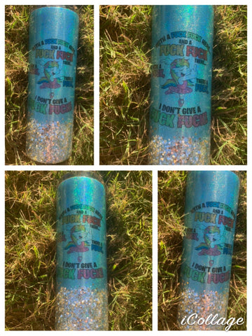 Holographic blue and silver skinny tumbler Give a fuck design - Rhinestone Empire Equine
