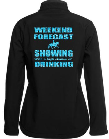 Weekend forecast  showing drinking soft shell Jacket
