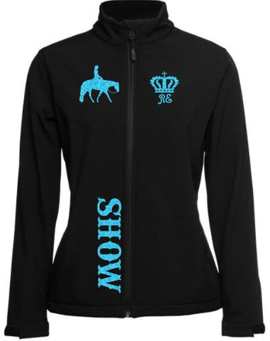 horse riding soft shell jacket with show hunter horse design