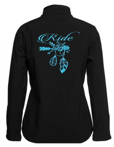 Ride flowers and feathers design Soft Shell Jacket - Rhinestone Empire Equine