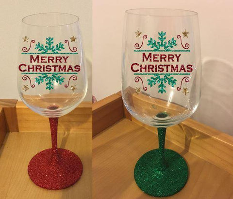 Christmas design glitter stem wine glass