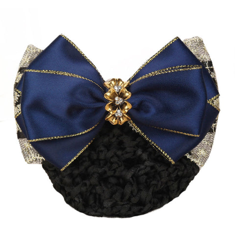 Navy lace satin hair barrette with snood