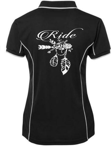 Ride flowers feathers  Polo Shirt - Rhinestone Empire Equine