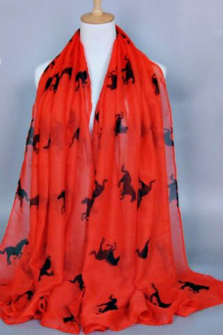 Red-Horse-Design-Print-Scarf