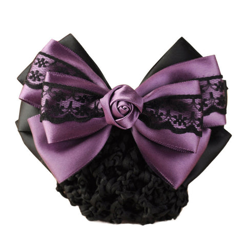 Mauve satin with black lace hair barrette with snood