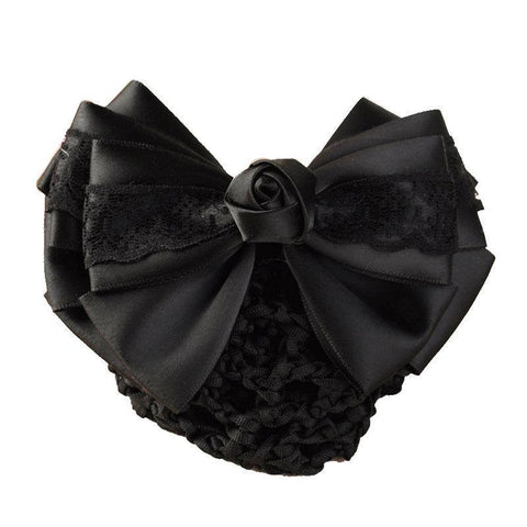 Black satin with black lace hair barrette with snood