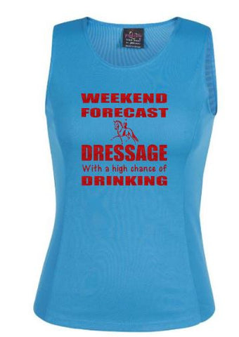 Weekend forecast Dressage and drinking  singlet
