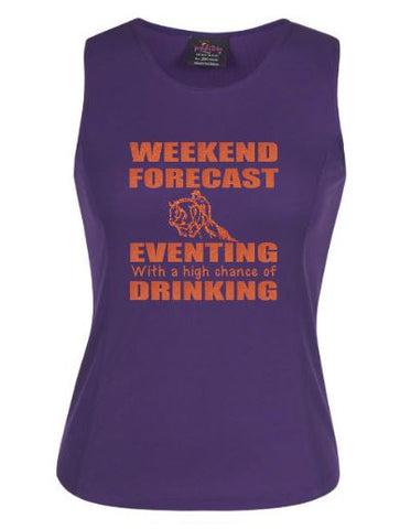 Weekend forecast Eventing and drinking  singlet