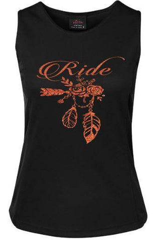 Ride flowers and feathers design Singlet