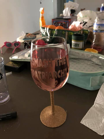 Smash the patriarchy glitter stem wine glass