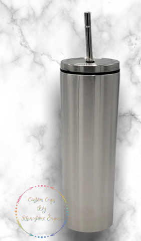PRESALE - Skinny Tumbler - 20 Oz Stainless Steel, Double Walled, With Stainless Steel Lid And Straw