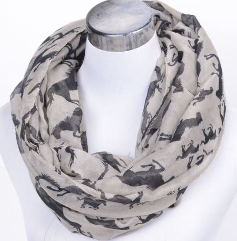 Taupe horse print scarf