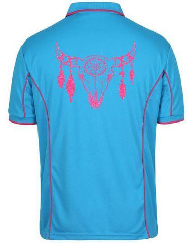 Cowhorns dream catcher design  Polo Shirt Unisex Sizes