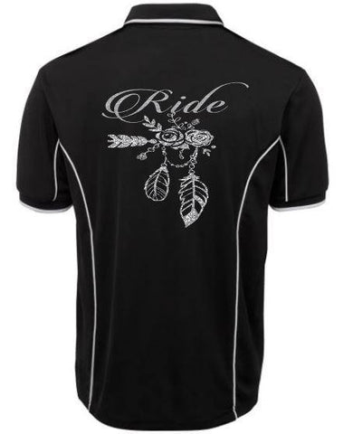 Ride flowers feathers Polo Shirt Unisex Sizes