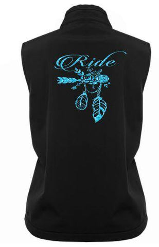 Ride flowers and feathers Soft Shell Vest - Rhinestone Empire Equine