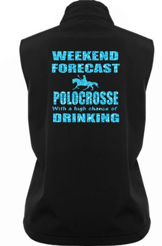 Weekend forecast riding drinking soft shell vest