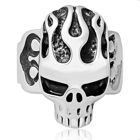 Skull Adjustable Silver Bikers Ring Mens - DarkVibes