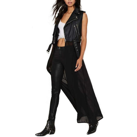 Long Sheer Faux Leather Punk Goth Vest Womens - DarkVibes
