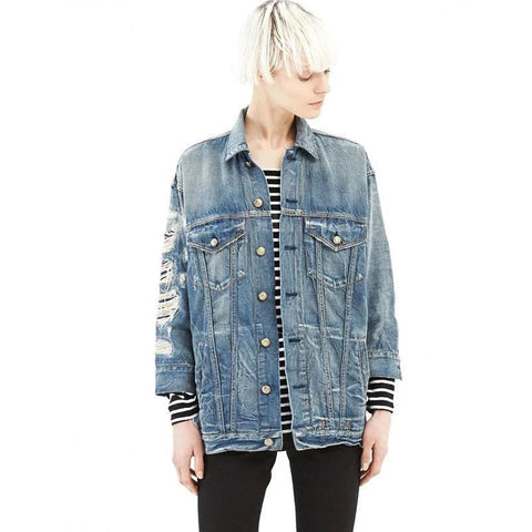 Punk DIstressed  Denim Jacket Womens Outerwear - DarkVibes