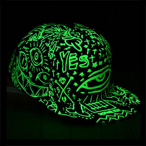 UV Luminous caps  Fluorescence Black Light Unisex - DarkVibes
