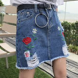 Embroidery Denim Skirt  Jeans