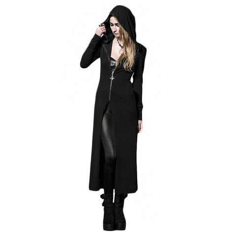 Hooded Long Black Coat Hoodie - DarkVibes