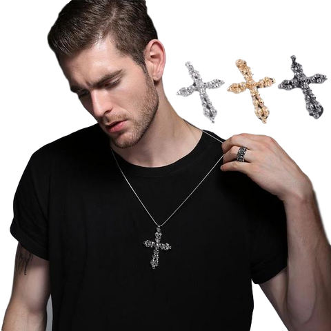 Skull Crucifix  Cross Necklace for Men - DarkVibes
