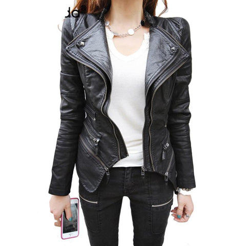 Studded Shoulder Double  Zipper Faux Leather Biker Jacket