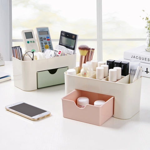 Cosmetic Jewelry Organizer Office Storage Drawer Desk Makeup Case Plastic Makeup Brush Box Lipstick Remote Control Holder