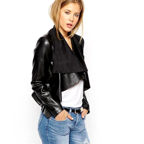Slim Long Sleeve  Leather Blouse Jacket - DarkVibes